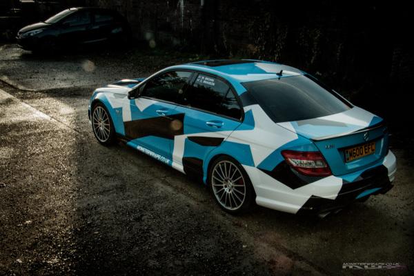 Mercedes C63 AMG Blue camo wrap rico rally amg camo