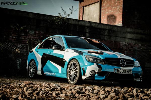 Mercedes C63 AMG Blue camo wrap