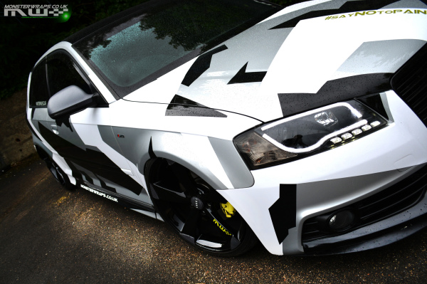 Audi A3 Custom white and black camo wrap