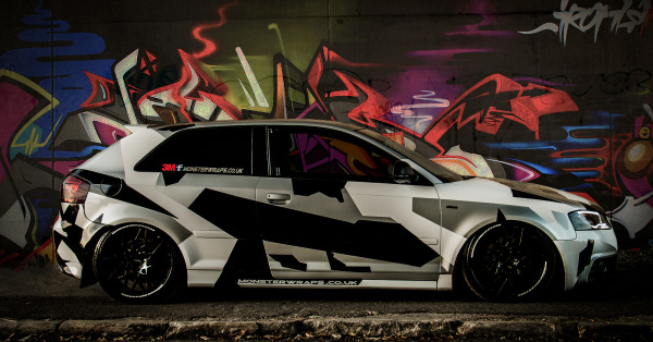 Audi A3 Custom white and black camo wrap