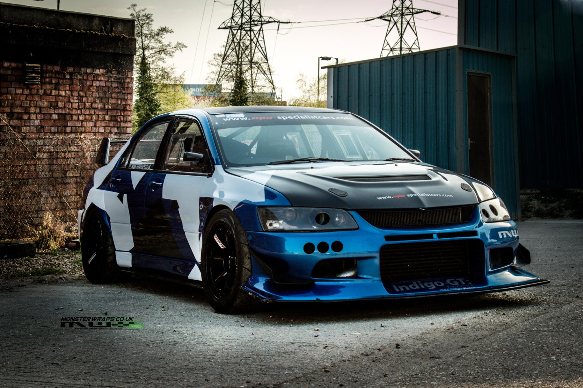 MCR Cars Evo 9 Blue Camo wrap