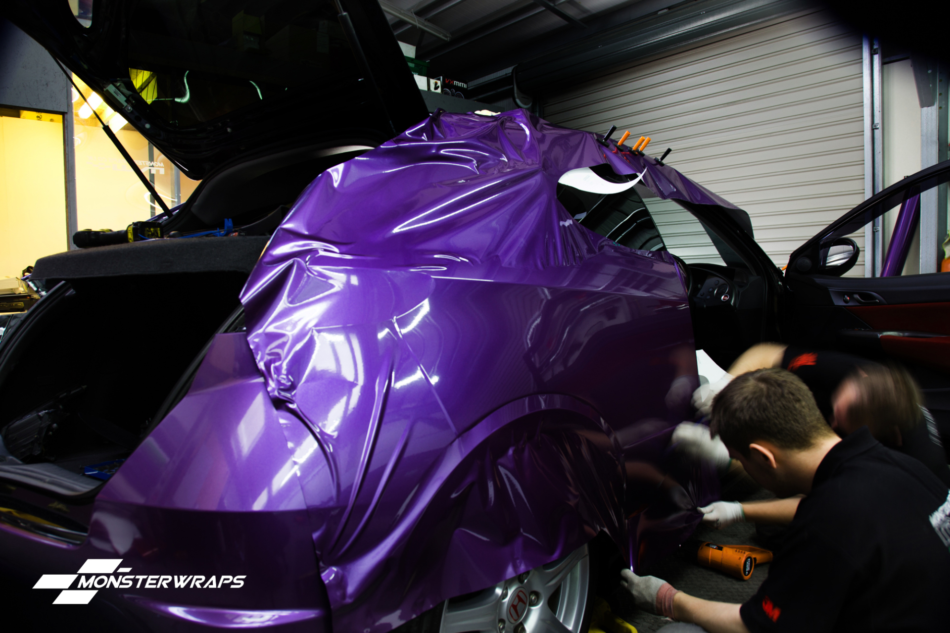 Honda Civic Type R Gloss metallic purple wrap car wrapping southampton uk