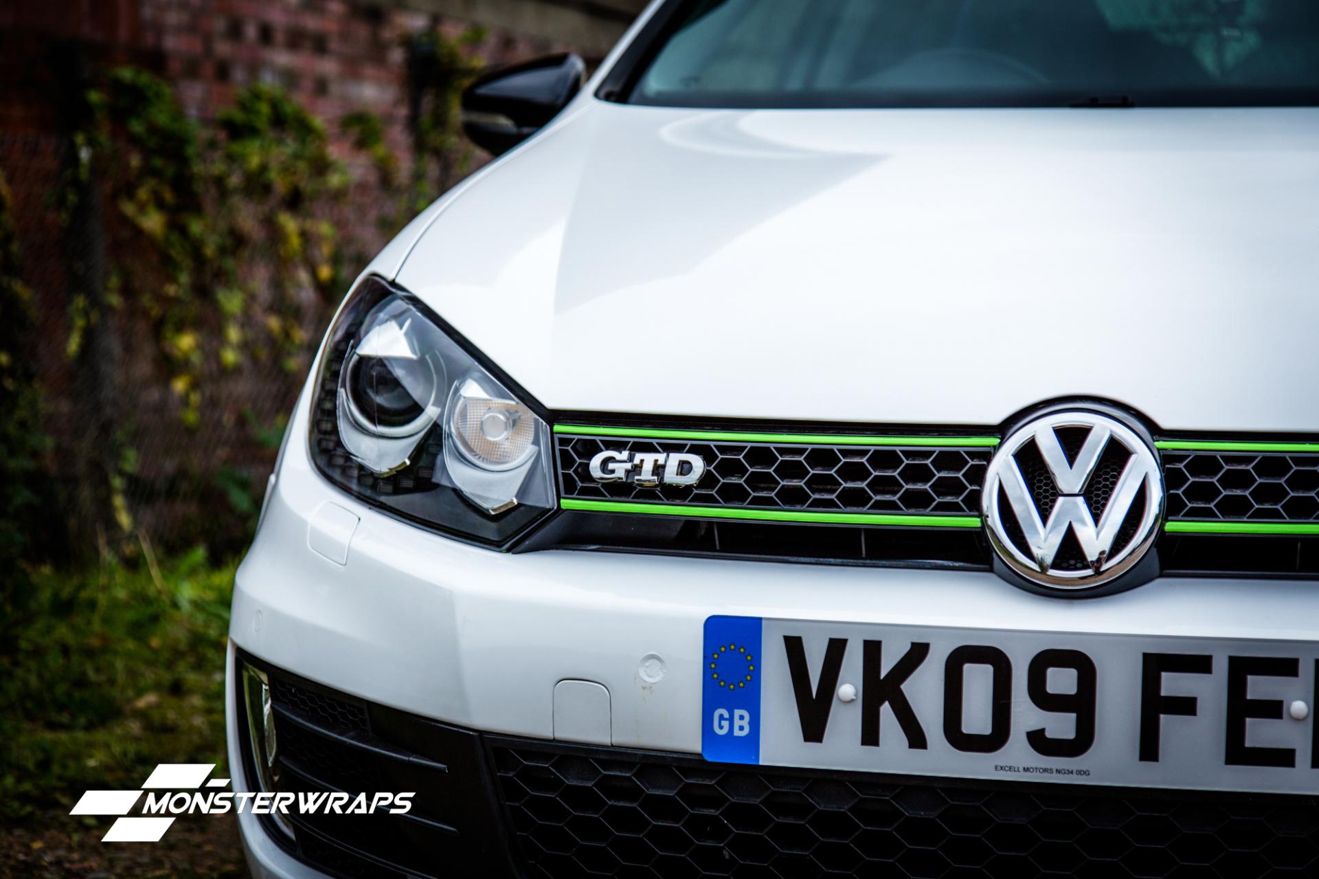 VW Golf 6 GTD gloss white car wrap southampton vinyl wrap