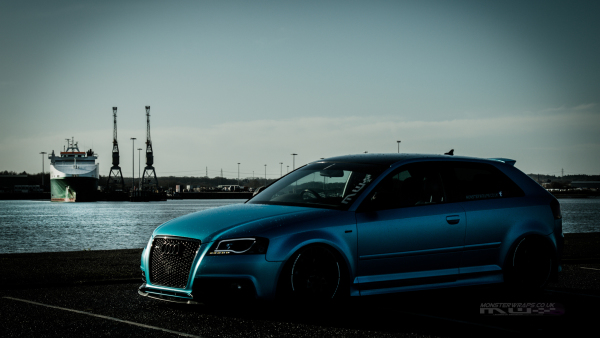 Audi S3 Satin blue ocean shimmer full car wrap southampton uk