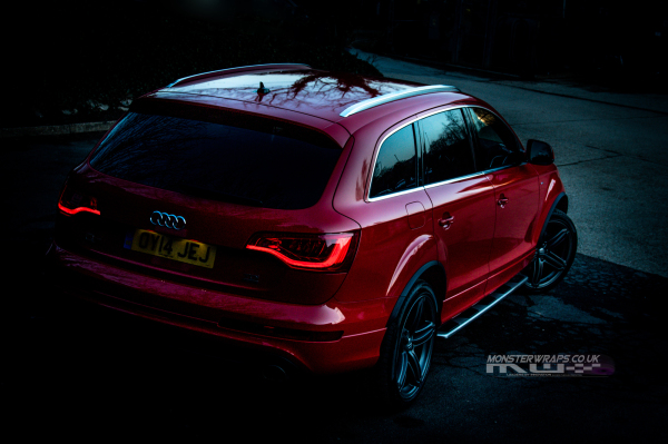 Audi Q7 Gloss red full car wrap 3M wrap Southampton UK