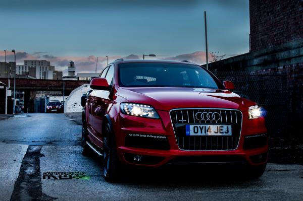 Audi Q7 Gloss red full car wrap 3M wrap Southampton UK