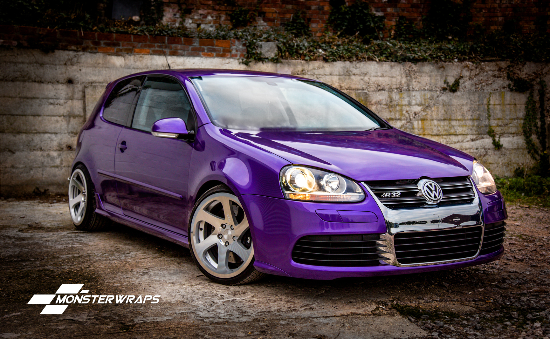 VW Golf R32 Gloss metallic purple full wrap