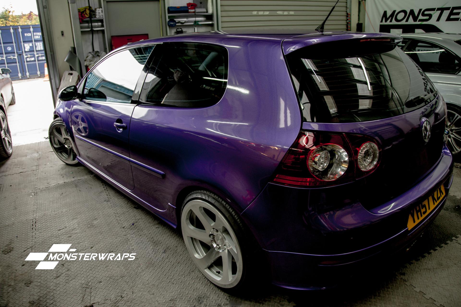 VW Golf R32 mk5 gloss purple wrap