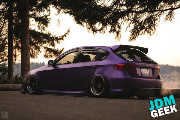 Satin purple metallic car wrap