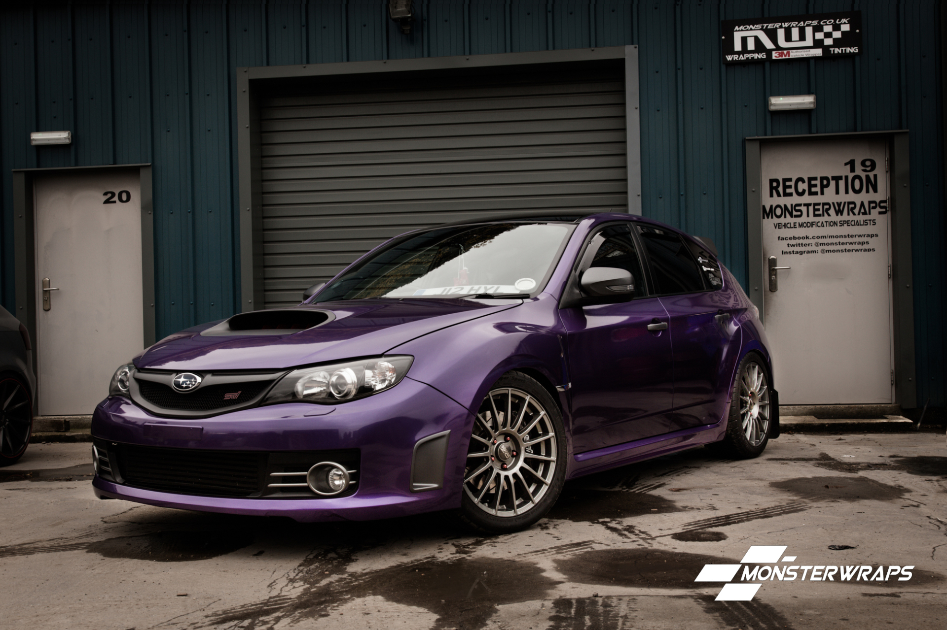 Subaru Impreza WRX Sti Gloss purple car wrap southampton