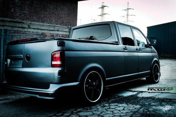 VW T5 Dokka pick up matte dark grey wrap
