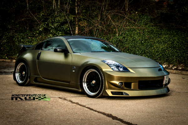 Nissan 350Z Brushed Army Gold wrap