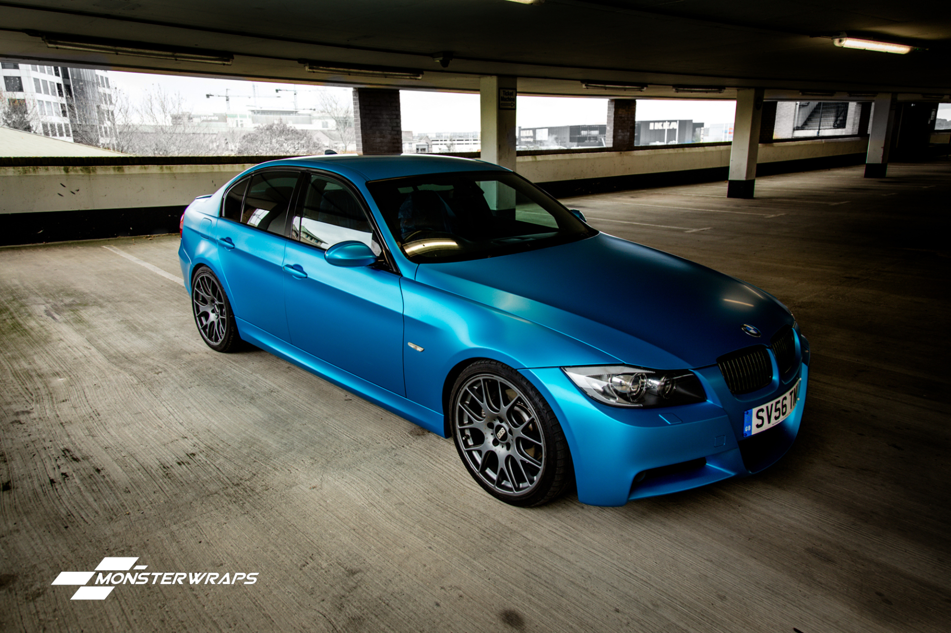 BMW E90 3 series Satin Ocean Shimmer Blue wrap
