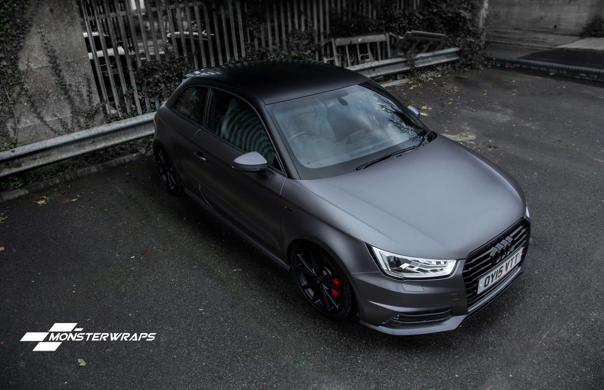 Audi A1 Satin dark grey full car wrap southampton car wraps