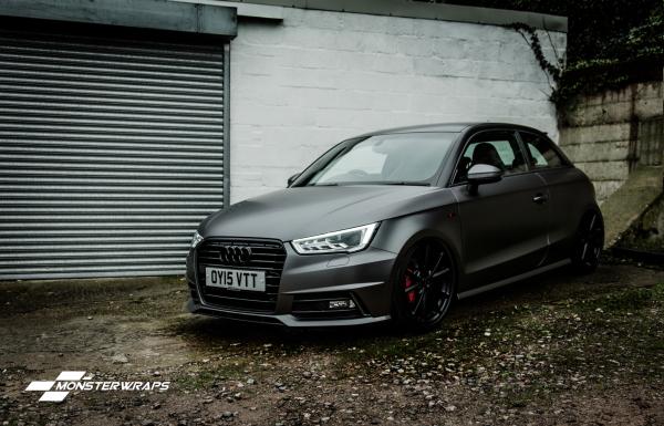 Audi A1 Satin dark grey frozen black car  wrap