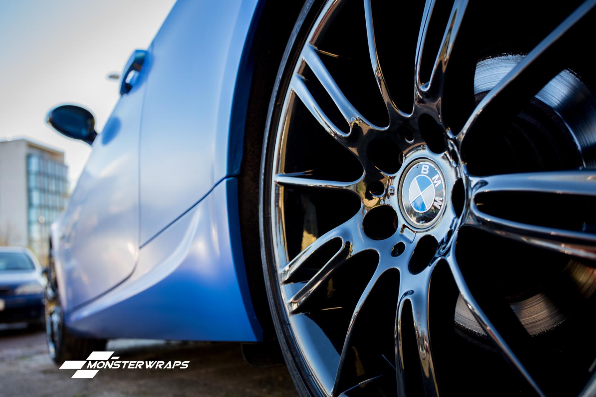 BMW E90 2 series satin perfect blue wrap