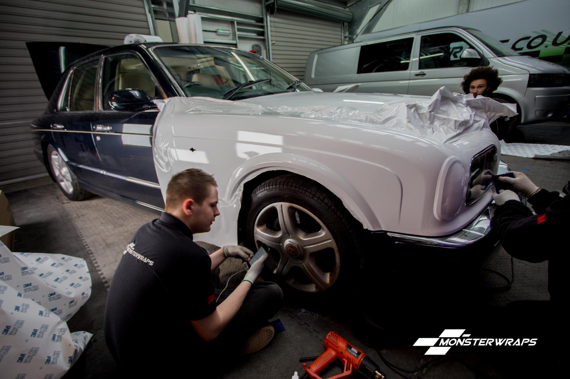 Bentley Arnage Gloss white wedding car wrap