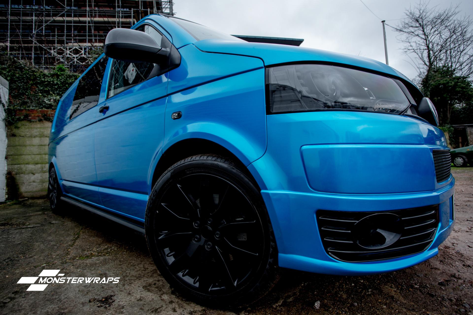 VW Transporter T5 Gloss atlantis blue wrap