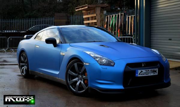 Nissan GTR R35 matte blue wrap