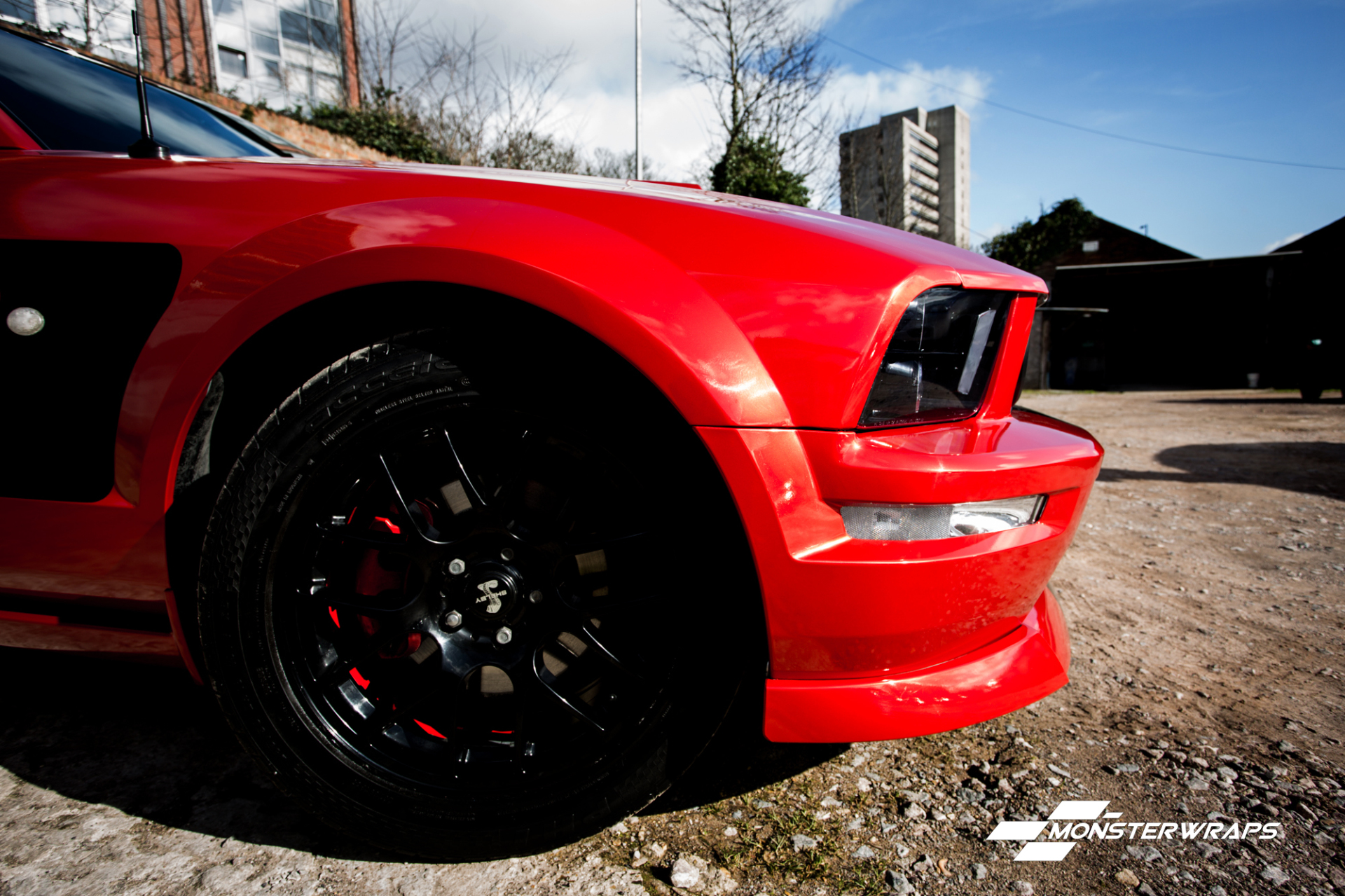 Mustang Dragon Fire Red full wrap