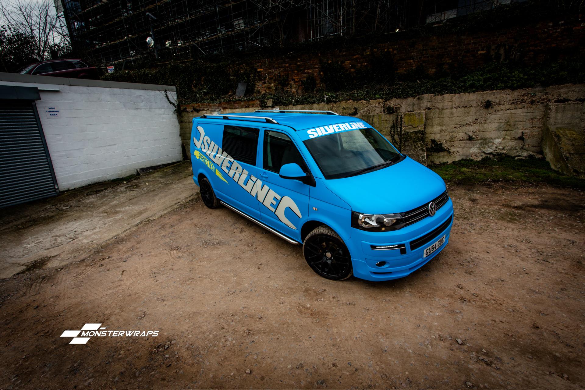 Silverline VW T5 matte blue wrap