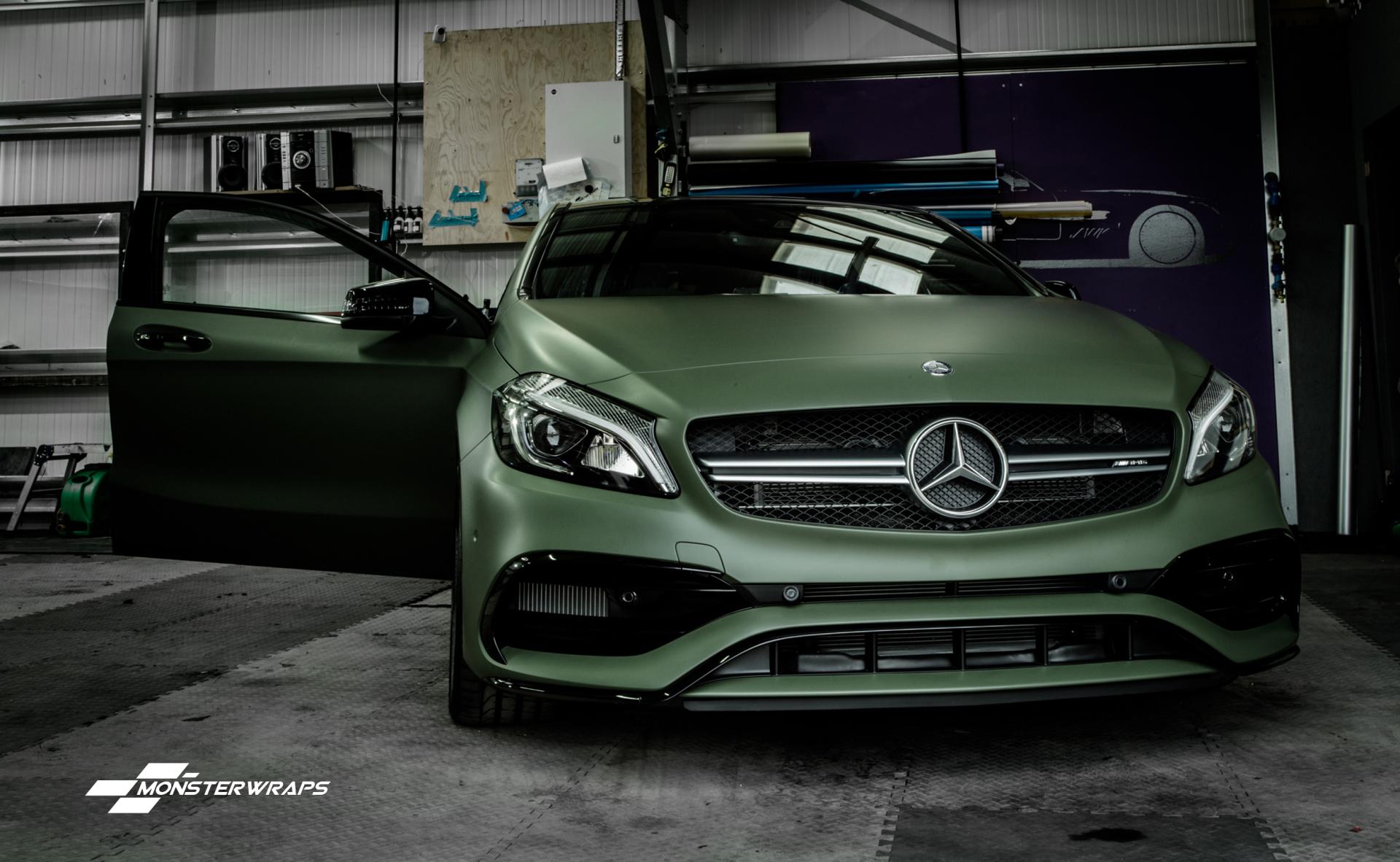 Mercedes A Class A45 AMG Matte military green wrap