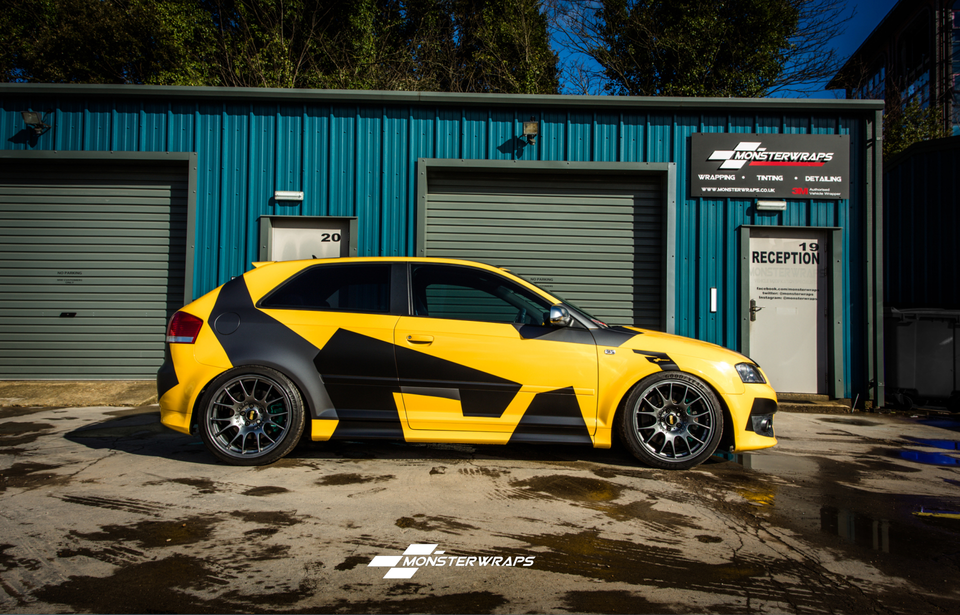 Audi S3 Gloss yellow and custom camo full wrap
