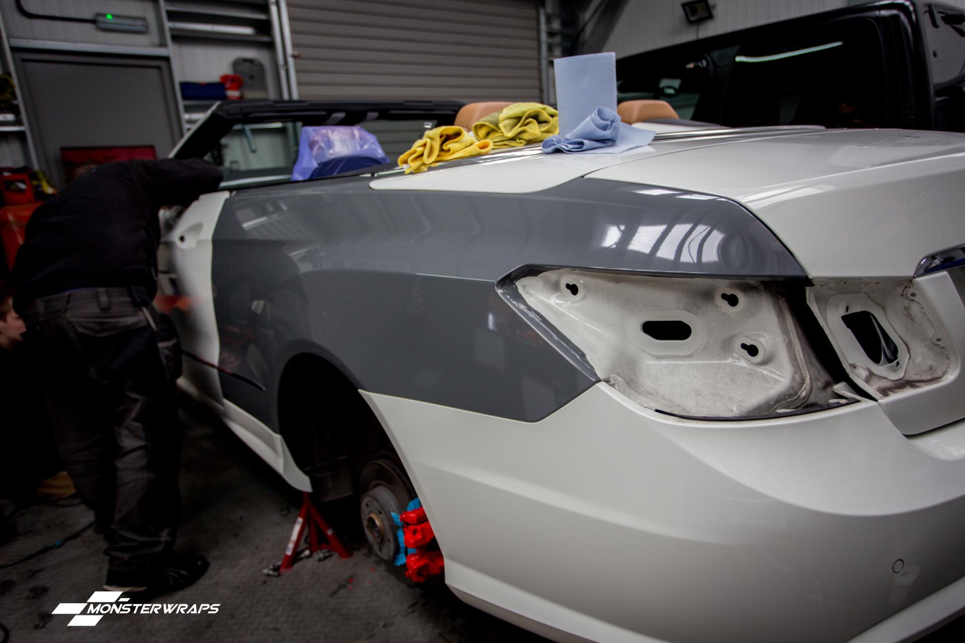 Red Door Paint Nardo Grey Mercedes E Class Wrap