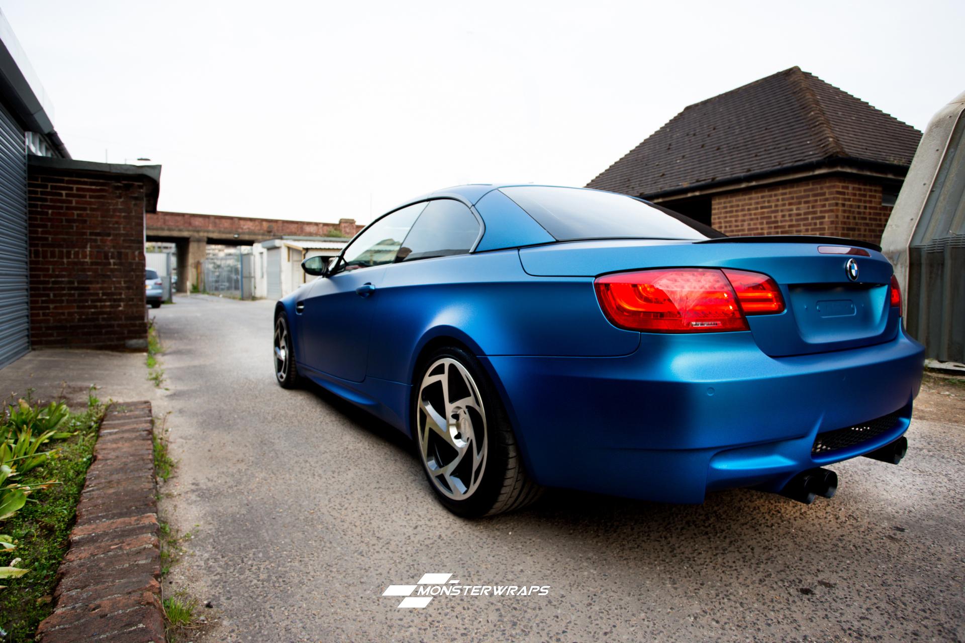 BMW M3 matte metallic blue 3M car wrap