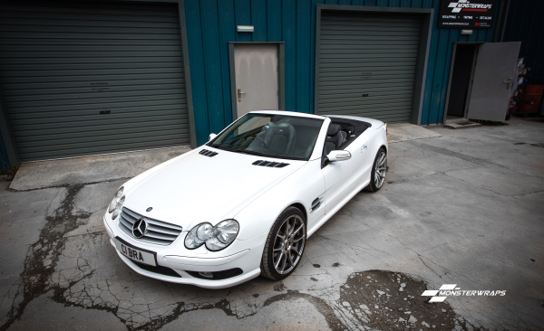 Mercedes SL55 AMG gloss white wrap with ceramic sealant