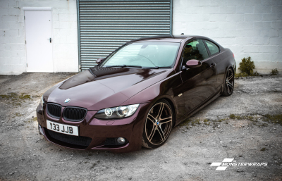 BMW E92 Gloss Black Rose wrap