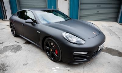 Porsche Panamera Matte Black wrap Porsche Portsmouth