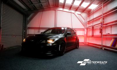 Subaru Impreza STi Hatchback Satin black wrap Southampton Hampshire