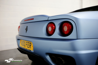 Ferrari F360 Frosty Matte Blue Metallic wrap