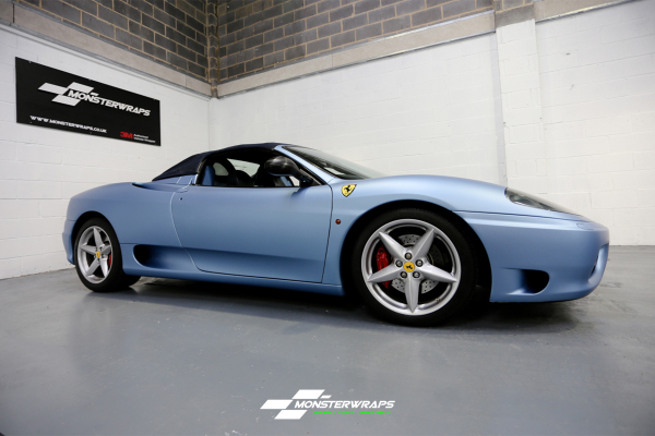 Ferrari F360 Frosty Matte Metallic Blue wrap