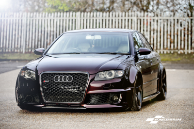 Audi RS4 Gloss Black Rose Wrap with Ceramic PRO