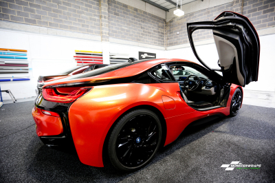 BMW i8 Unique Sunset Pearlescent gloss orange wrap