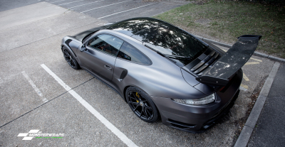 Porsche 911 Turbo Vorsteiner 3M Satin Dark Grey Wrap car van truck wrap southampton hampshire