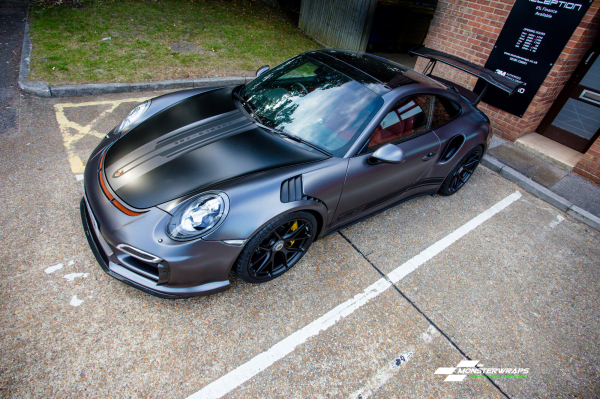 Porsche 911 Turbo 3M Satin Dark Grey wrap