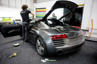 Audi R8 V10 Satin Dark Grey wrap car van truck wrap southampton hampshire