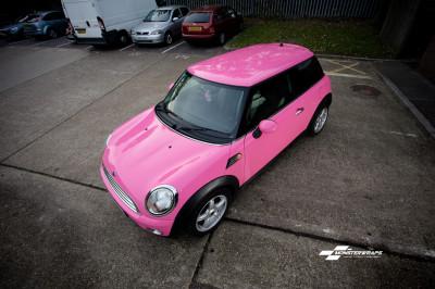 Mini Cooper Gloss hot pink wrap southampton hampshire