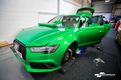 Audi RS6 3M Gloss Green Envy wrap with ceramic pro