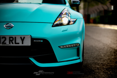 Nissan 370Z Nismo wrapped in 3M Satin Key West