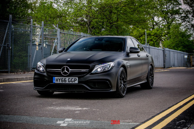 Mercedes C63s AMG Wrapped in 3M 1080 matte black