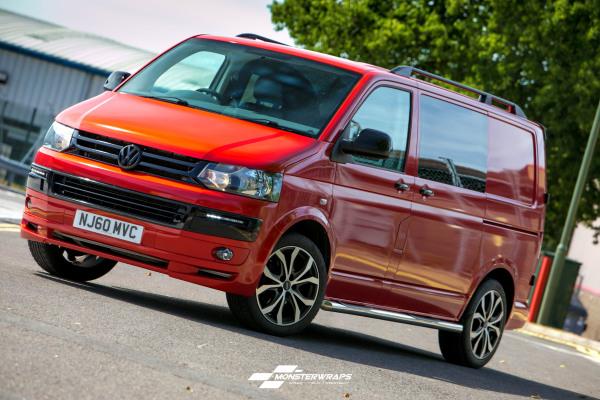 VW T5 Transporter Dragon Fire Red full wrap