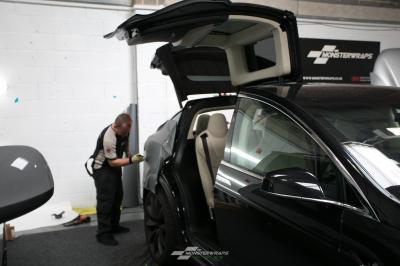 Tesla Model X Wrap dechrome ceramic pro southampton monsterwraps