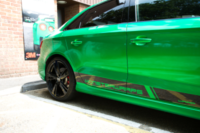 Wrapped Audi RS3 saloon 3M Gloss Green Envy