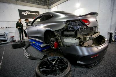 Mercedes C63 AMG 3M Satin Dark Grey fully wrapped Monsterwraps Southampton