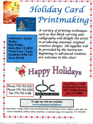 HOLIDAY CARD CLASS AT GREAT BASIN COLLEGE LAST CHANCE REMINDER