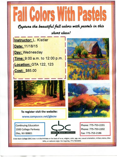 LAST MINUTE REGISTRATION FOR PASTELS CLASS